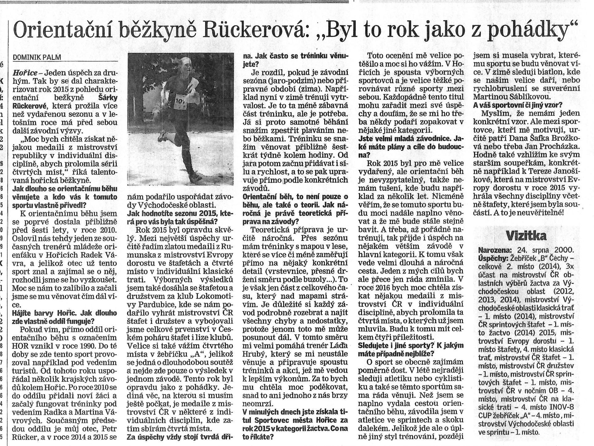 článek Jičínský deník 25.1.2016
